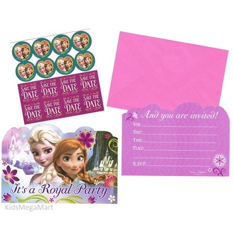 Frozen Disney Pack of 8 Party Postcard Invitations, Envelopes, Save Date Stickers