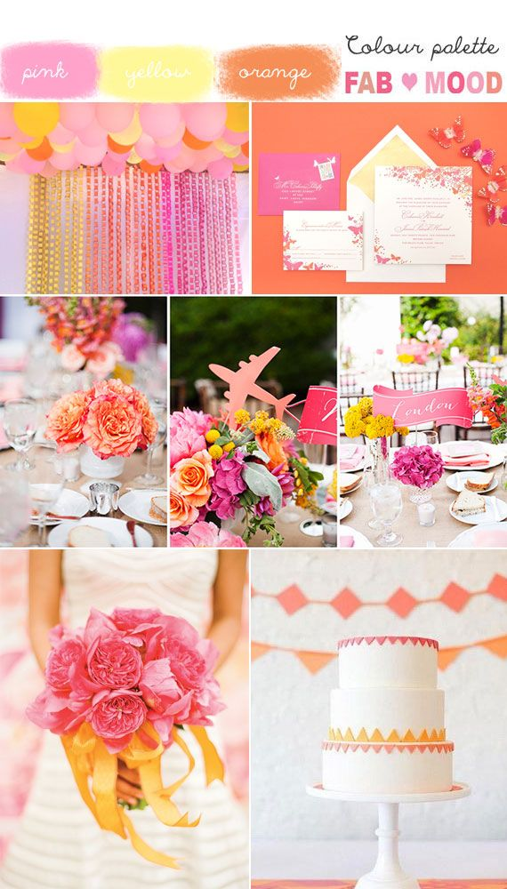pink orange yellow wedding colour board... WITH NAVY!!!!! and mint?!!?!? too much?! probably.