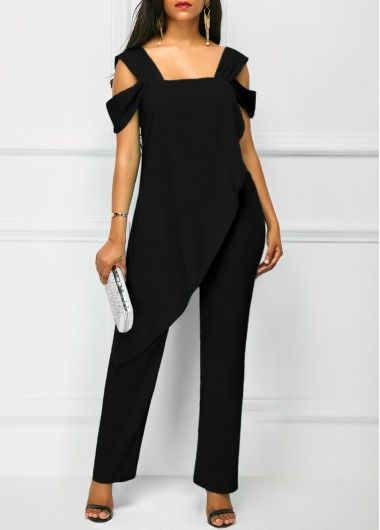 I might actually be able to wear this jumpsuit Wide Strap Black Open Back Overla…
