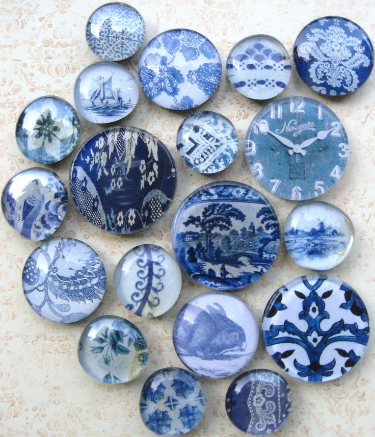 vintage blue & white Transferware, Delft Tile & Blue Willow glass magnet collection...