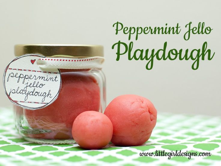 Peppermint Jello Playdough - my new favorite recipe for playdough! So easy and fast to mix up a batch. Find the recipe at littlegirldesigns.com.