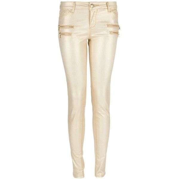 Morgan Slim fit jeans with zipped detailing ($85) ❤ liked on Polyvore featuring jeans, pants, calças, metallic, women, zipper jeans, metallic jeans, faux-leather jeans, slim cut jeans and slim fit jeans