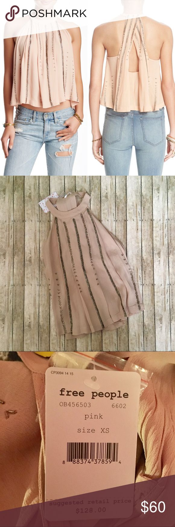 """❗️SALE TODAY Free People Shimmer and Shine TankTop • NWT • Size XS • Very pretty light pink color with beaded embellishments • Halter top with racerback • Pleated and crepe like material • Dual button neck line closure • Approx. 21"""" length • 100% rayon • Free People Tops Tank Tops"""