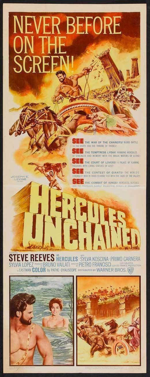 HERCULES UNCHAINED Movie POSTER 14x36 Insert Steve Reeves Sylva Koscina Silvia | eBay