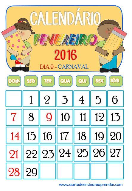 Calendários 2016 - Fevereiro