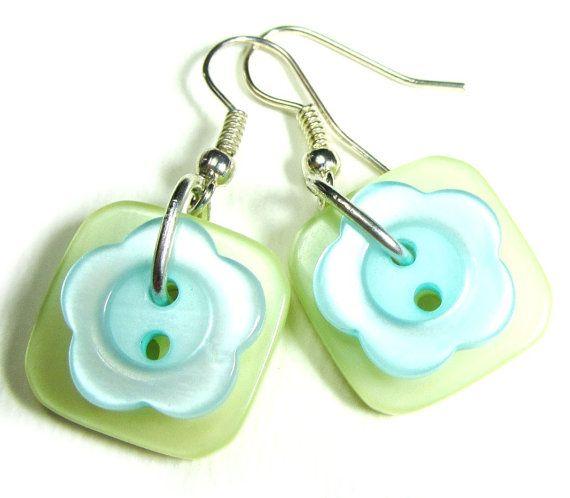 Button Girl Earrings Cute Drop Styles by flirtyfashionjewelry, $15.00