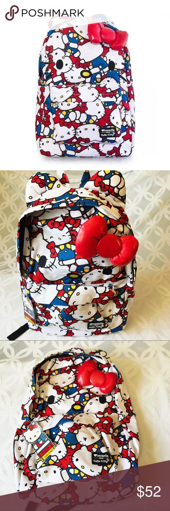 """Loungefly Loves Hello Kitty 3-D Bow Backpack NWT Loungefly Loves Hello Kitty 3-D Bow 17"""" Backpack NWT Hello Kitty Bags Backpacks"""