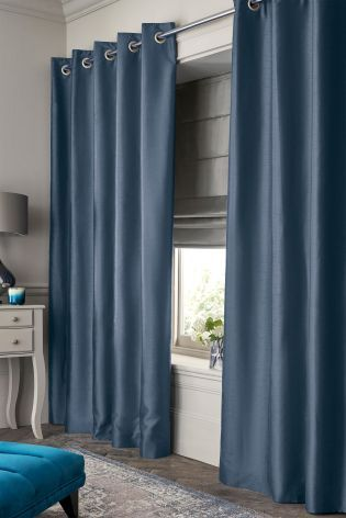 Buy Faux Silk Blackout Eyelet Curtains from the Next UK online shop
