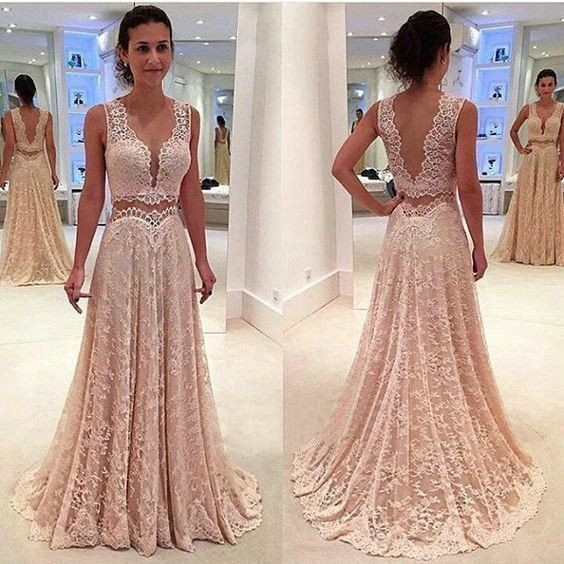 Deep V Neck 2017 Unique Long V Back Lace Prom Dresses, PM0243 The dress is fully lined, 4 bones in the bodice, chest pad in the bust, lace up back or zipper back are all available. This dress could be
