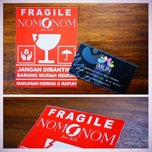 Custom design for FRAGILE sticker, production by IMLIN adv