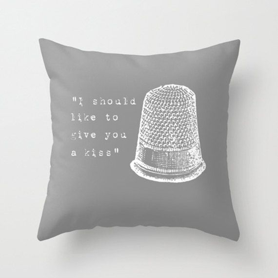 Throw Pillow Cover - I Should Like To Give You a Kiss - 16x16, 18x18, 20x20 - Nursery Bedroom Original Design Home Décor by Adidit