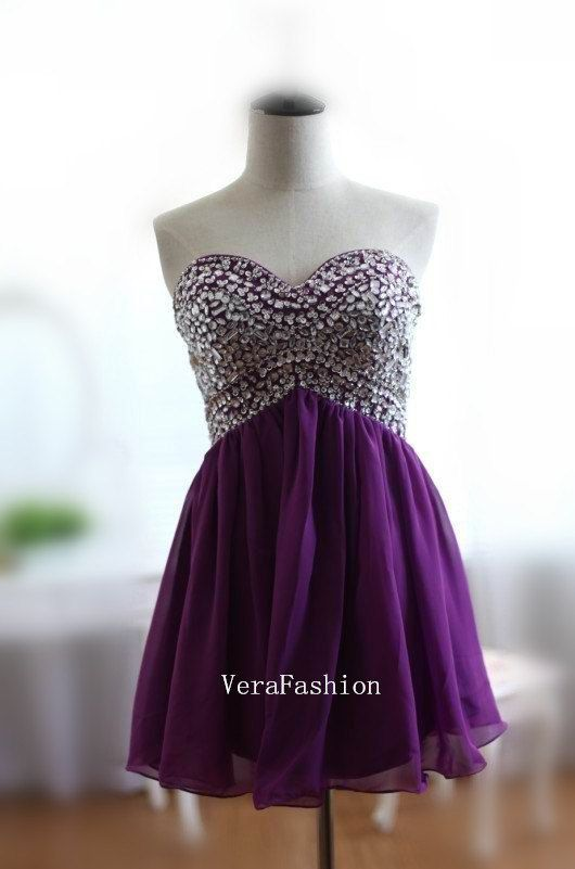 Homecoming Dress Purple Homecoming Dress Short by VeraFashion