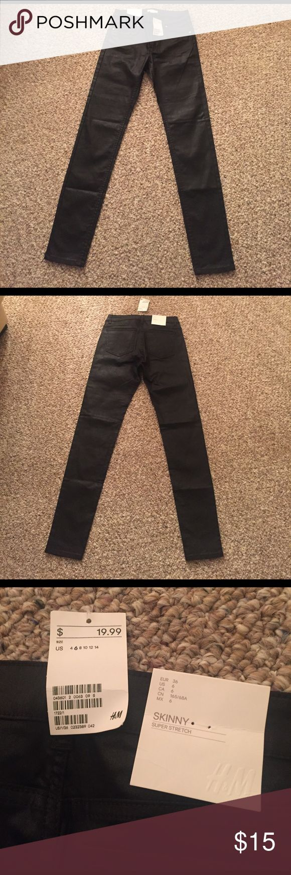 NWT - H&M Black faux Leather skinny jeans NWT - H&M Black faux Leather skinny jeans. Tags attached, never worn! Super stretch material. H&M Pants Skinny