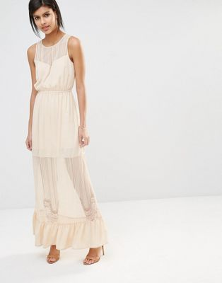 Vero Moda Sheer Lace Insert Maxi Dress with Ruffle Hem
