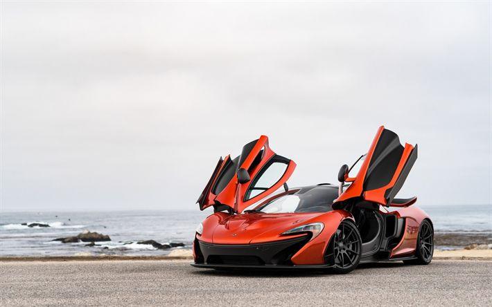 Download imagens McLaren P1, laranja supercarro, hipercarro, rodas pretas, supercarros, McLaren