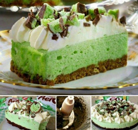 No Bake Aero Cheesecake - make with gluten free digestives. Mint aero and philadelphia are gluten free : )