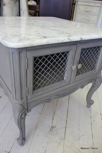Grey French End Table, repaint those marble top tables you see for sale and replace the center panel of the door with chicken wire