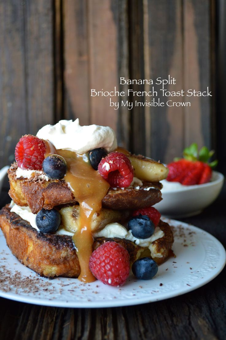 Banana Split Brioche French Toast Stack...yes...you have died and gone to Heaven.  Well, food Heaven anyway.  Or I have since I ate (as taste tester of course) the entire loaf of brioche.  I'm not ...