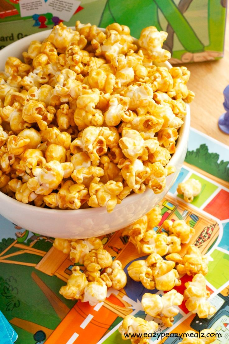 Perfect Popcorn: Not-sticky caramel popcorn, perfect for game nights- Eazy Peazy Mealz