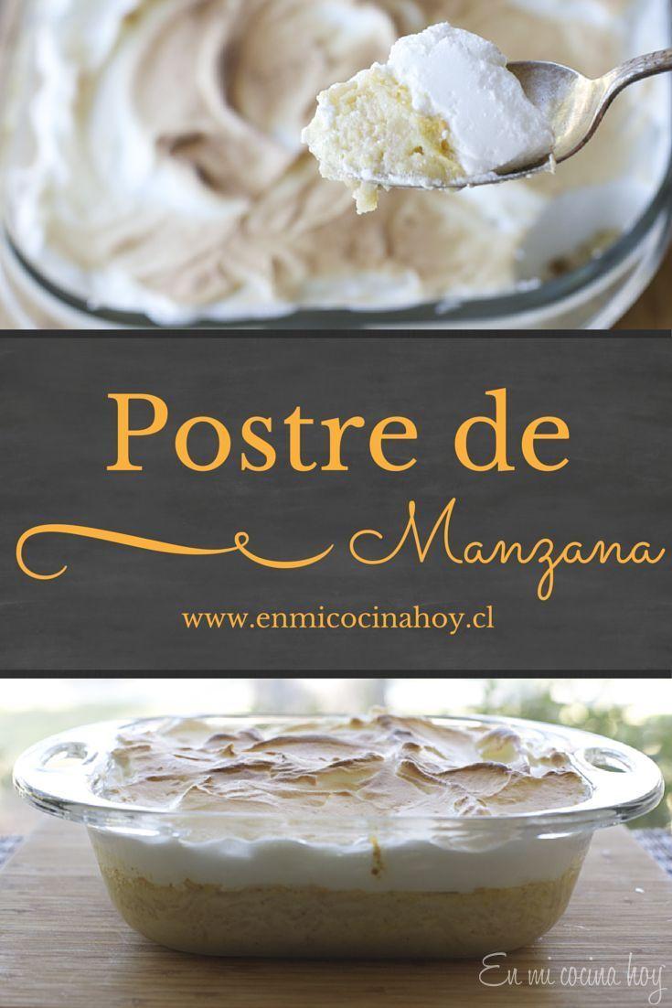 Este postre de manzana rallada con leche condensada. Fácil y rico. Pueden hacerlo con o sin el merengue.