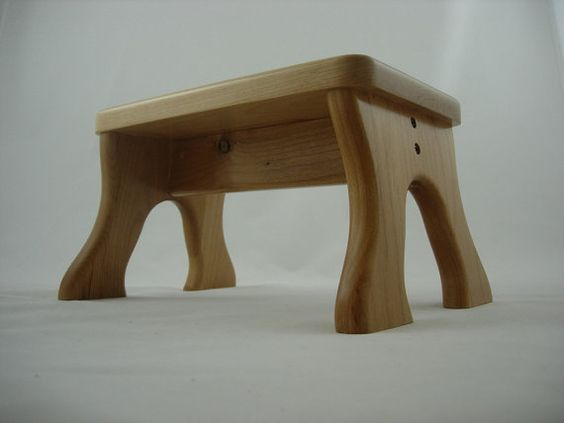 Tip-Resistant Alder Step Stool, Wooden, Wood, Natural Stain, Kids Stepstools by LaffyDaffy on Etsy: