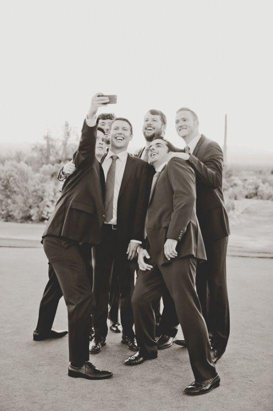 Groom and groomsmen take selfies too. #weddingselfie Captured By: Elyse Hall Photography http://www.weddingchicks.com/2014/06/02/desert-wedding/