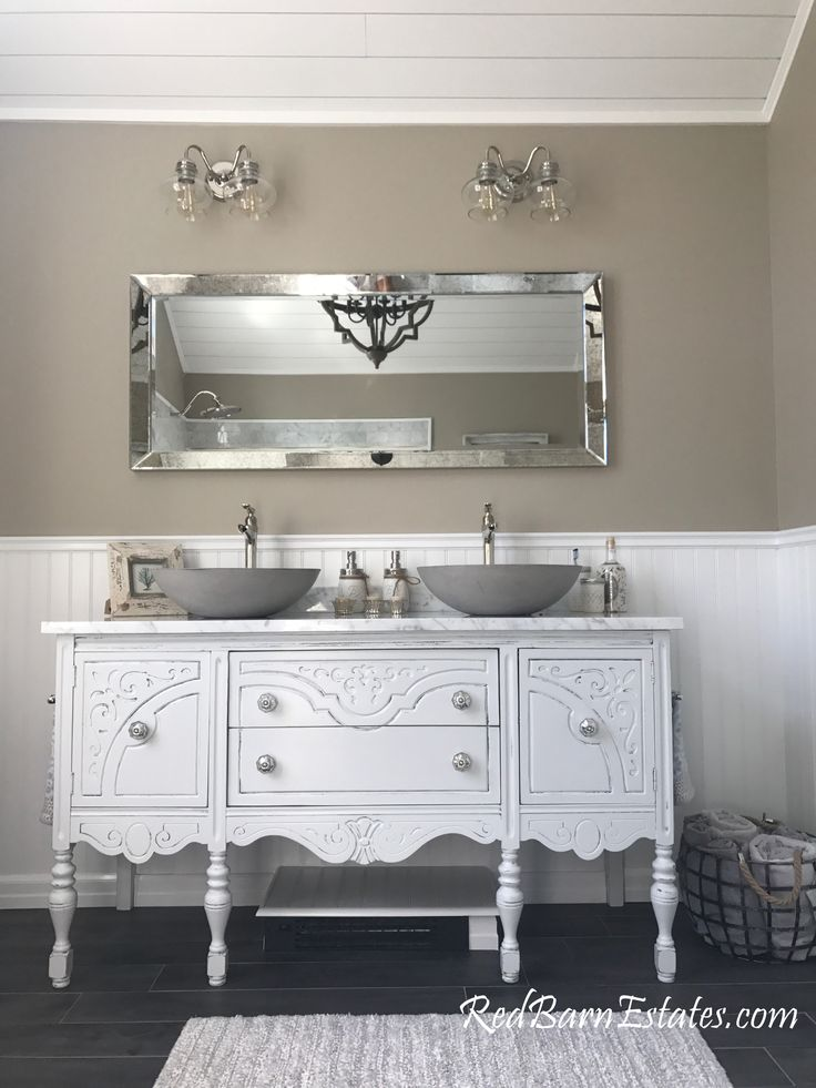 Breathtaking double sink bath vanity antique conversion