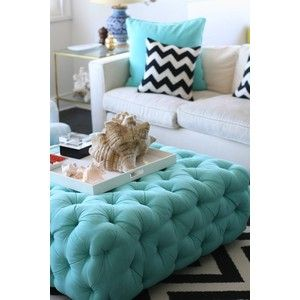 Teal Ottoman Great Living Room Idea