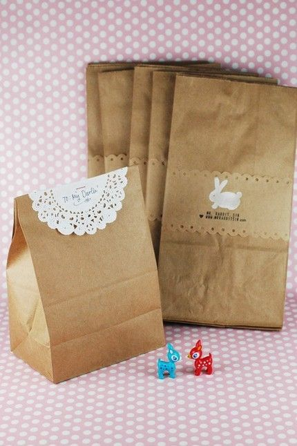 brown bag and doilie