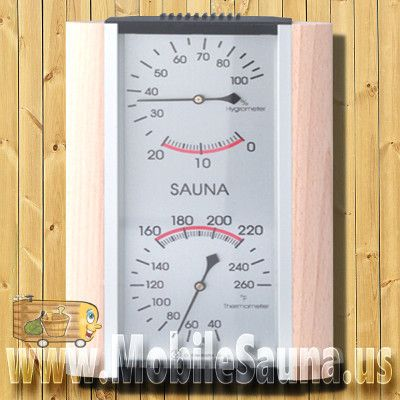 The beauty of this combination sauna thermometer and hygrometer is in its function and design. The hygrometer measures humidity in your sauna from 0 to 100%, while the thermometer displays the temperature. Easy to install, this sauna thermometer and hygrometer can be hung with a single wall screw.