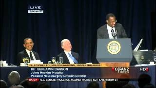 Dr. Benjamin Carson's Amazing Speech at the National Prayer Breakfast with Obama Present, via YouTube.