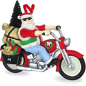 Santa on a Motorcycle Christmas Ornament