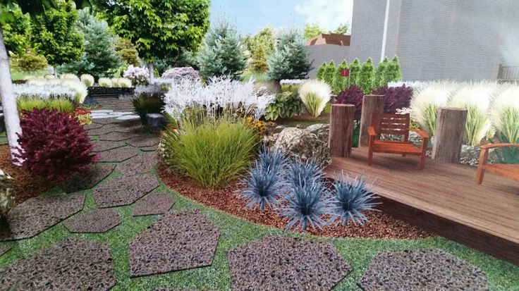 Retreat Landscape Design creates a spectacular contrast of colors, textures , heights and four season interest in this commercial / residential landscape design.