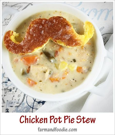 A quick and easy recipe for a stew that tastes like Chicken Pot Pie! Made with the Instant Pot so you can use frozen chicken breasts without thawing!