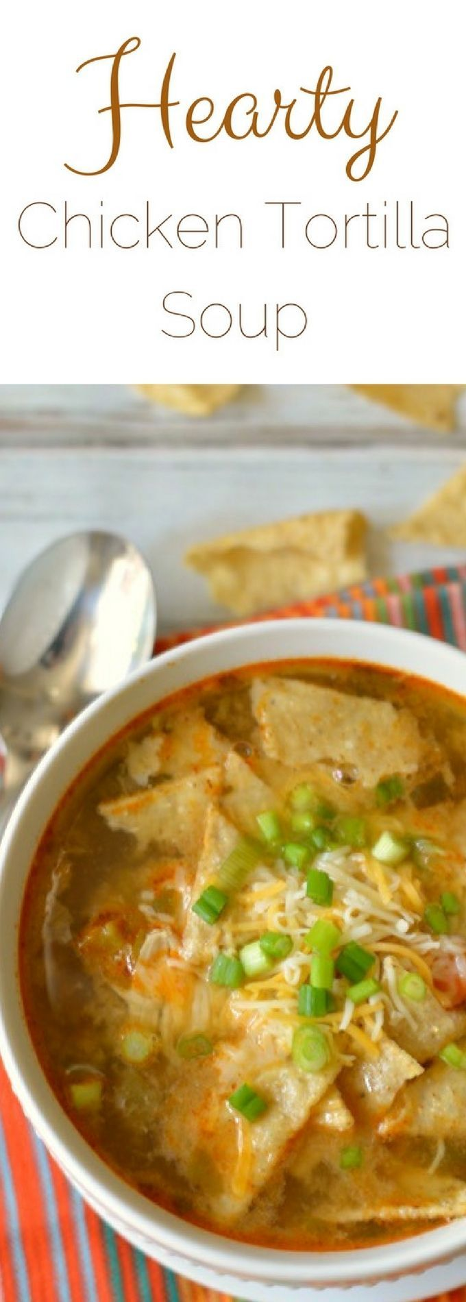 This hearty chicken taco soup is a delicious soup that uses all of the vegetables hanging out in your refrigerator. Use up those veggies before they go bad and make this yummy soup recipe! via /fearlessdining/