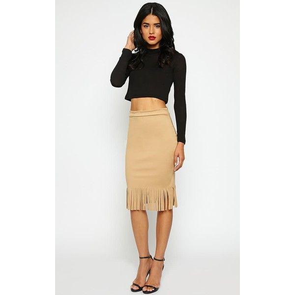 Khaleesi Tan Suedette Tassel Fringe Skirt (£5) ❤ liked on Polyvore featuring skirts, brown, fringe skirt, tan fringe skirt, white tassel skirt, white fringe skirt and white skirt
