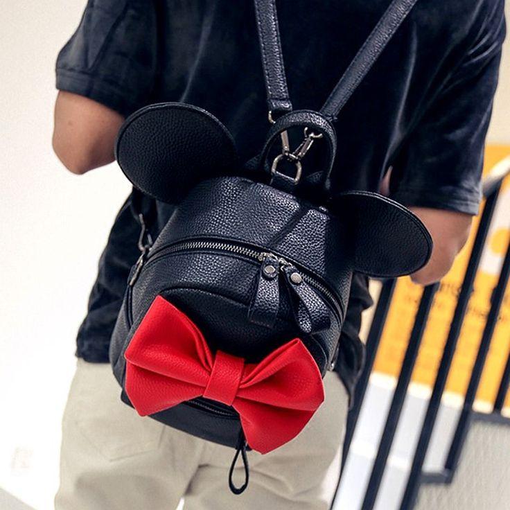 2016 nouvelle mode doux Mickey oreilles grand épaule sac qualité pu en cuir femmes sac Grand arc sac femme Coréenne sac grande capacité dans Sacs à dos de Bagages et Sacs sur AliExpress.com | Alibaba Group