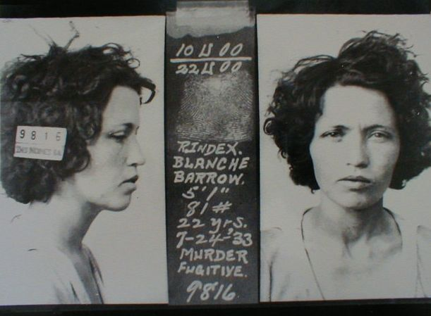 """This mug-shot is of Blanche Barrow; who was married to Marvin Ivan """"Buck"""" Barrow, an older brother of Clyde Barrow. Blanche was a tiny girl - only 4'11"""" (she, sometimes, gave her height as 5'1"""") and weighed 81 lbs."""