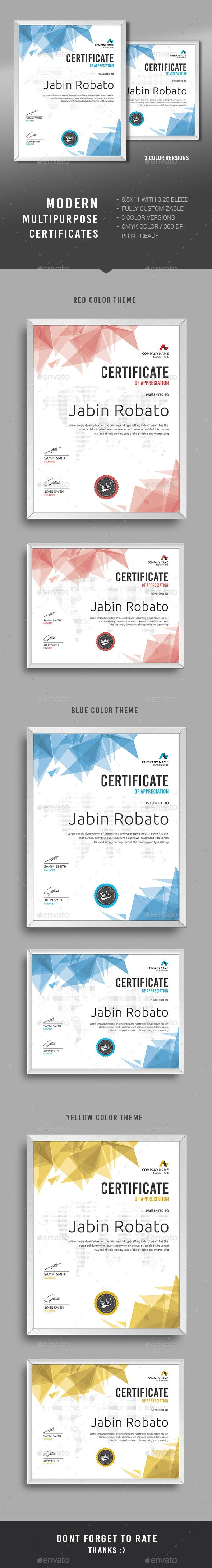 Modern Multipurpose Certificates Template PSD. Download here…