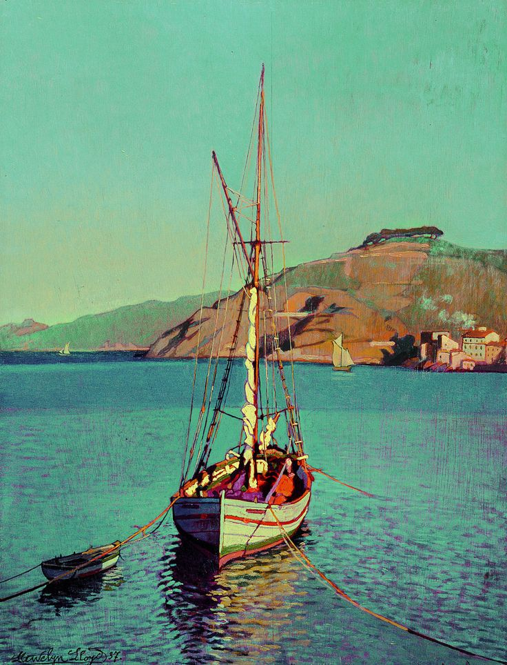 The Madonna del Monte (Boat and Villa Anselmi)  -   Llewelyn Lloyd ,1937     British-Italian 1879-1949