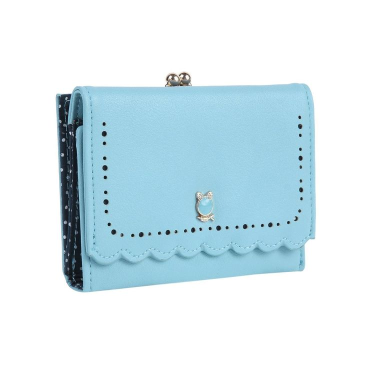 Damara Womens Chic Perforation Wallet Kiss-lock Snap Trifold Purse,Light Blue. Material:faux leather. A lovely metallic owl patch in the front. 1 photo window,2 card slots and a compartment for bills with a snap closure. 2 short compartments for coins or small slim items with a kiss-lock closure. Measurement is app 19x10x2cm (7.48x3.93x0.78inch).