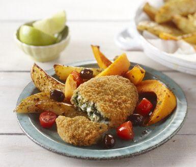 En blandning av salt potatis och söt persika ger en härlig och lite oväntad smaktwist på denna rätt. Och när du tröttnat kan ju ugnsgott lätt bytas ut till vad som helst. Varför inte till säsongens rotfrukter blandat med plommon?