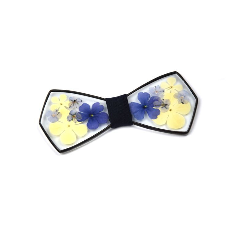 Blue and yellow hydrangea glass bowtie