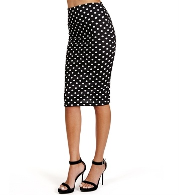 Black/White Polka Dot High Waisted Pencil Skirt