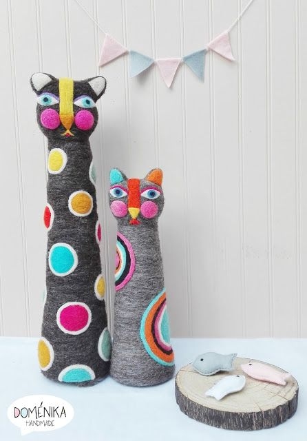 Doménika Handmade: Gatitos Vellón Agujado / Needle Felting Cats