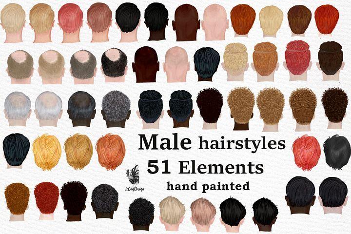 Male Hairstyles Clipart Men Hair Clipat Bald Man Hairstyle 302549 Illustrations Design Bundles Hair Clipart Mens Hairstyles Hair Styles