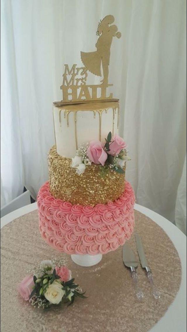 Our wedding cake -chocolate cake, slated caramel carrot cake & pink raspberry velvet cake -gold sequin, pink swirled gold drip #flake&bake