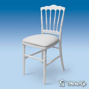 Witte stoel Napoleon met witte zitting via hekeltje.nl