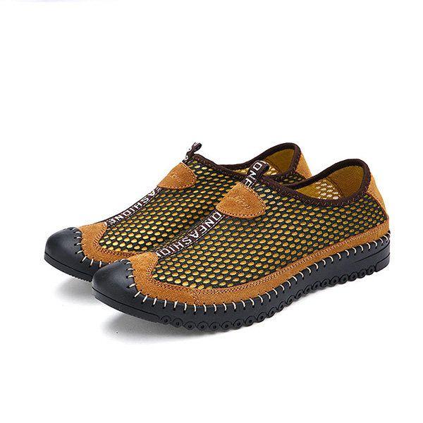 Verano de los hombres del deporte al aire plana del dedo del pie redondo de moda transpirable zapatos atléticos ahuecar malla