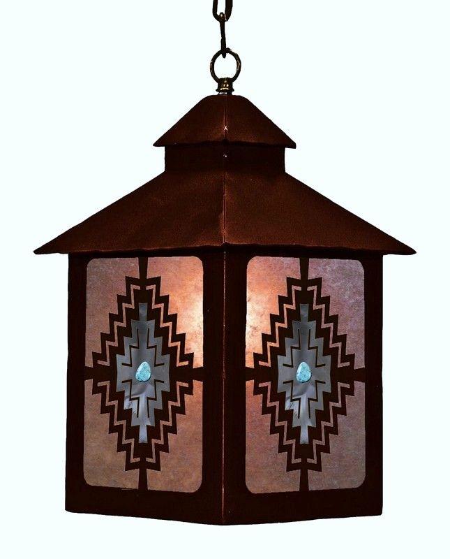 Desert Diamond Turquoise Pendant Lantern Light (LLP-1030) - Desert Diamond Southwestern pendant lantern light fixture features genuine turquoise stones on a Navajo Style diamond design on all four sides.WESTBYSOUTHWESTDECOR